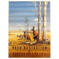 Original 1930s Travel Poster Advertising HAPAG Cruises to Australia, Kangaroos