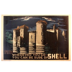 Original Vintage Poster Designed for Shell, Bodiam Castle by McKnight Kauffer