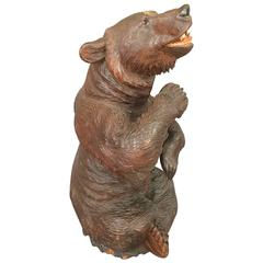 Late 19th Century Swiss Black Forest Linden Bear Carving