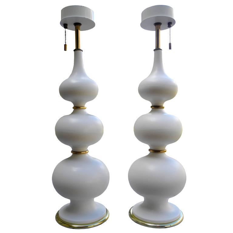 White Ceramic Table Lamps by Gerald Thurston for Lightolier