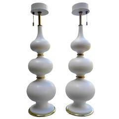 White Ceramic Table Lamps by Gerald Thurston for Lightolier
