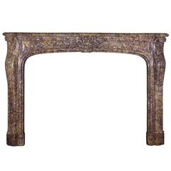 19th Century Brocatelle Marble Antique Fireplace Mantel, Regency Style
