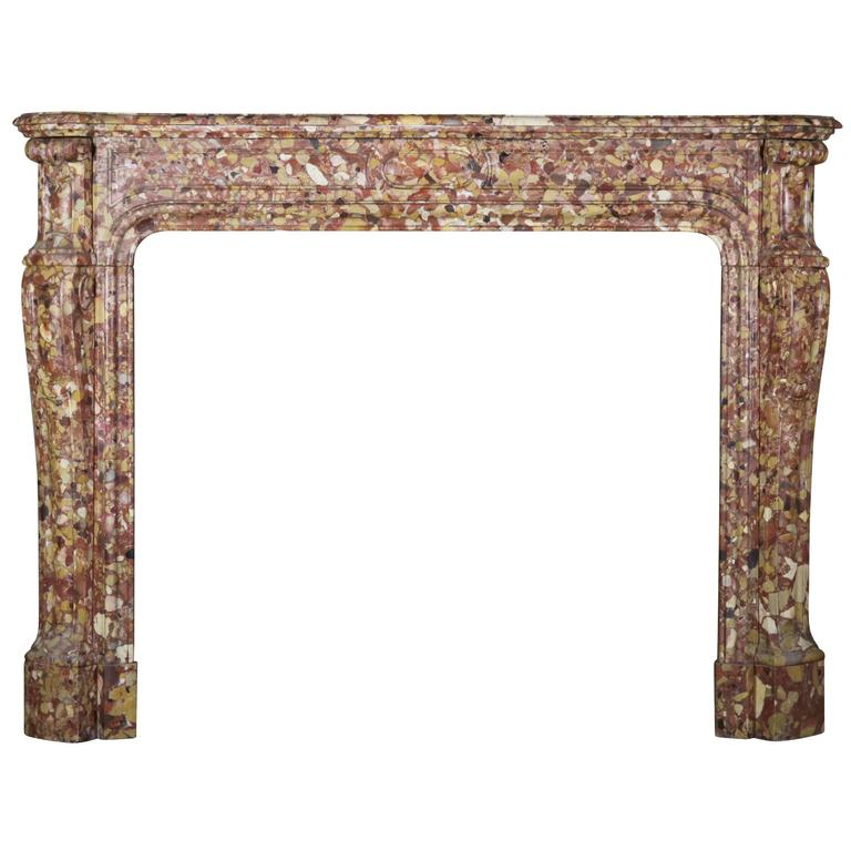 19th Century Pompadour antique fireplace in Breche d'Aleppe