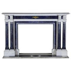 19th Century Blue and white statuary antique fireplace surround mantel