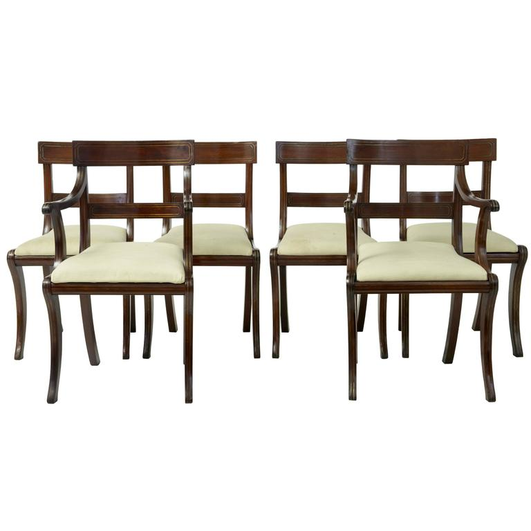 1920s Set Of Six Regency Influenced Mahogany Brass Inlaid Dining Chairs For  Sale