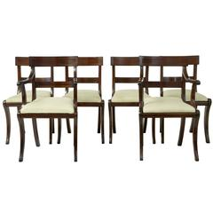 1920s Set of Six Regency-Influenced Mahogany Brass Inlaid Dining Chairs