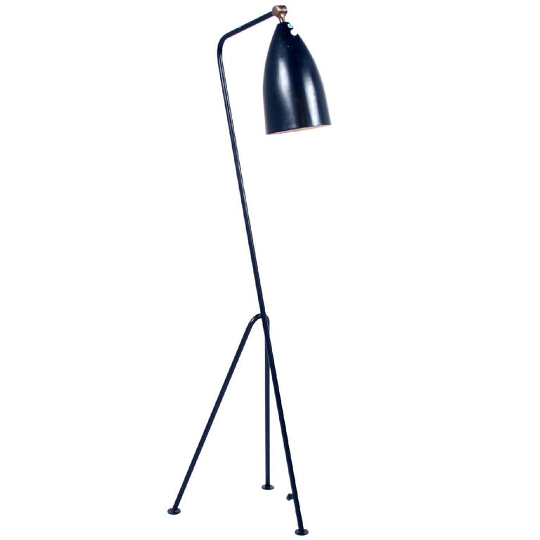 Original Black Greta Grossman Grasshopper Lamp For Sale
