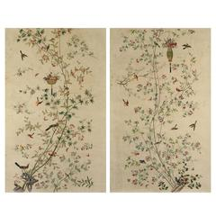 Pair of Chinoiserie Hand-Painted Paper Panels, Watercolour on Paper