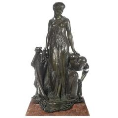 Large Patinated Bronze Group, Unveiling the Princess by H. Dumaige