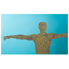 """""""Torso"""" in Gold on Blue Glass"""