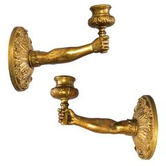 Set of Rare French Ormolu Hand Sconce Torch Candleholders