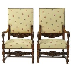 19th Century French Large Carved Walnut Armchairs