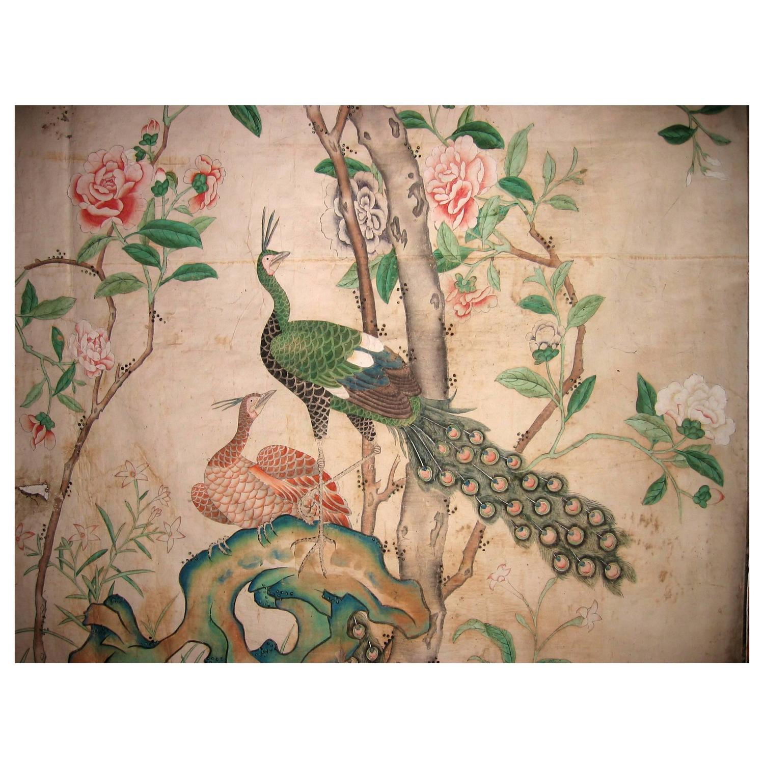 Exquisite Wall Coverings From China: 12 Antique And Rare Chinese Wallpapers Panels For Sale At