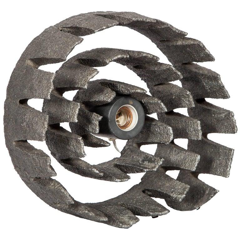 German Mid-Century Wheel Sculpture and Lamp with Brutalist Design