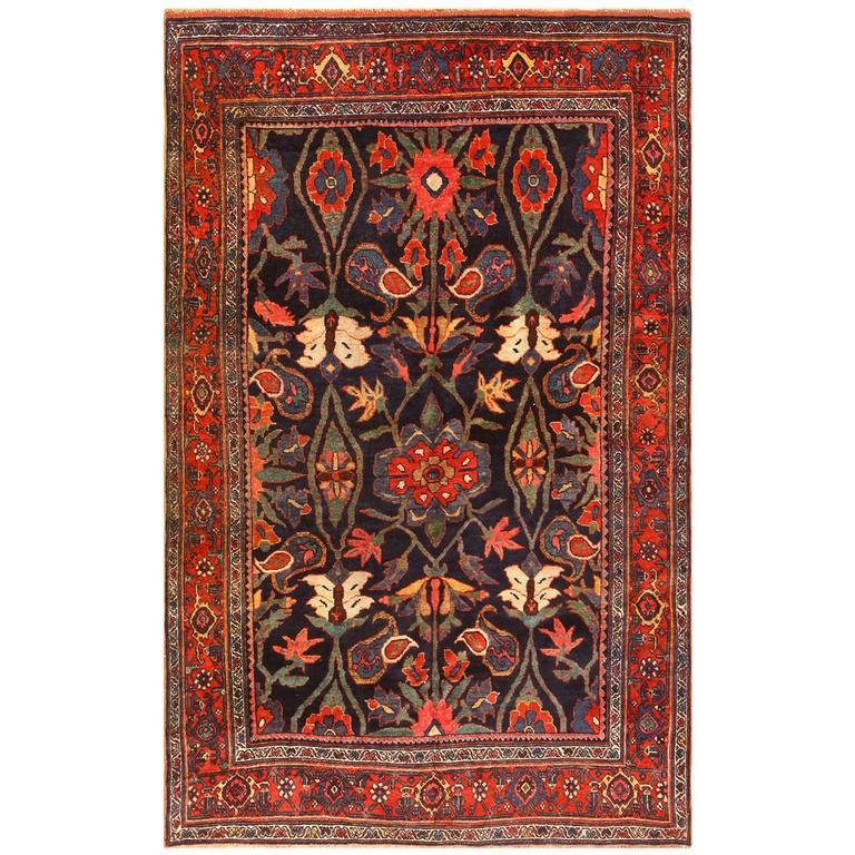 Antique Blue Persian Bidjar Rug