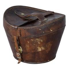 19th Century English Leather Hat Box