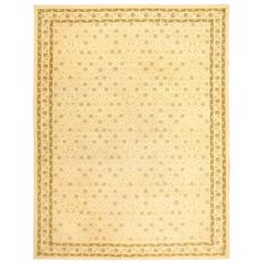 Decorative Ivory and Green Vintage Spanish Rug