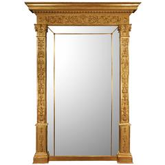 Palatial Italian 19th Century Neoclassical Style Giltwood Mirror