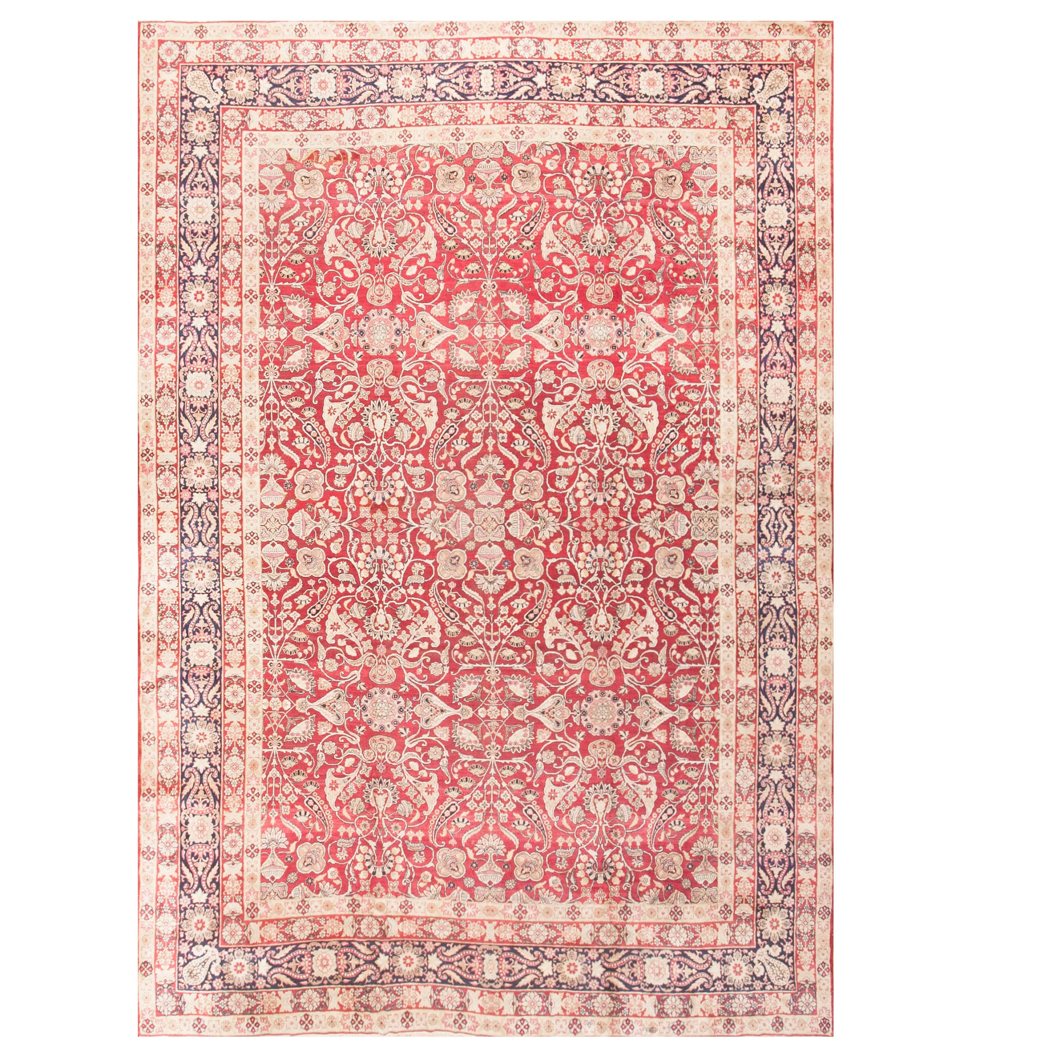 Long Kerman Rug With Intricate Floral Design In Ivory, Red,