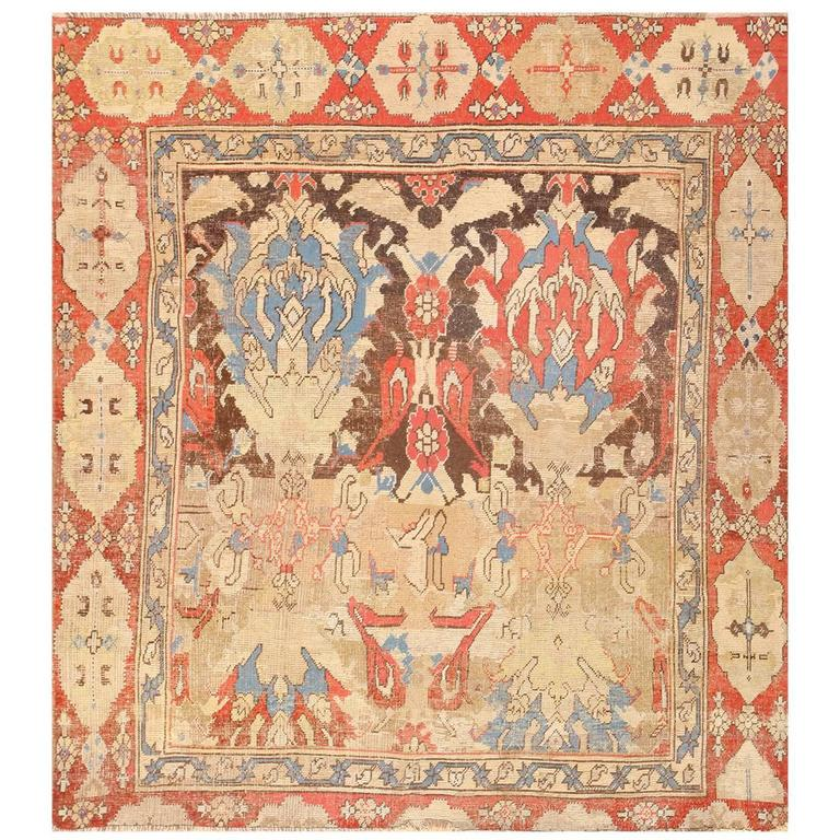 Antique 17th Century Smyrna Turkish Oushak Rug For Sale at 1stdibs