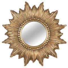 Sunburst Wood and Resin Frame Bombe Mirror, French, 1960s