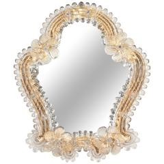 Murano Textured Glass Frame Mirror, 1930s