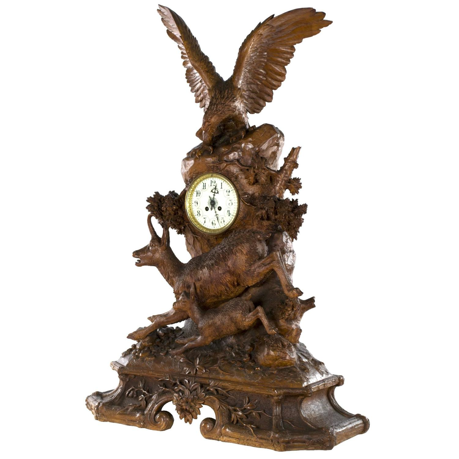 Monumental Black Forest Mantel Clock With Eagle And Chamoise For Sale At  1stdibs