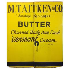 Pair of Steel Painted Doors with Butter Advertising