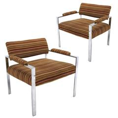 Pair of Wide Seat Striped Velvet Lounge Chairs in the Manner of Milo Baughman