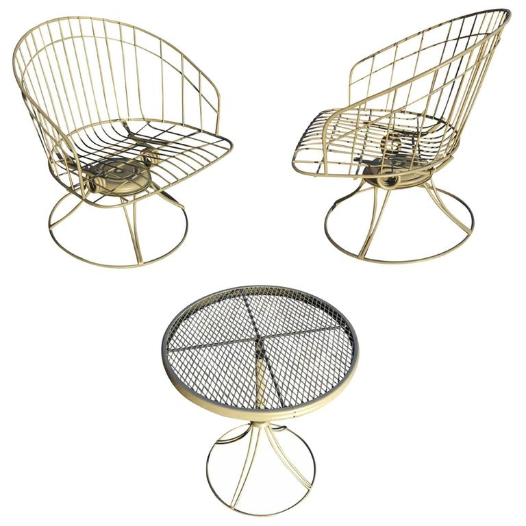 Homecrest Mid Century Wire Barrel Chair And Side Table Set