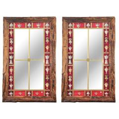 Pair Wood and Eglomise Mirrors