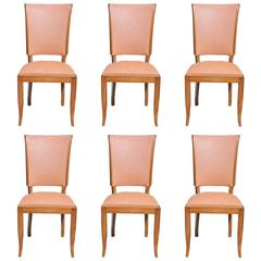 Suite of Six French Art Deco Classic Mahogany Dining Chairs, circa 1940s