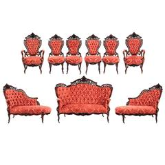 "Meeks Nine-Piece Rosewood ""Stanton Hall"" Parlor Set"