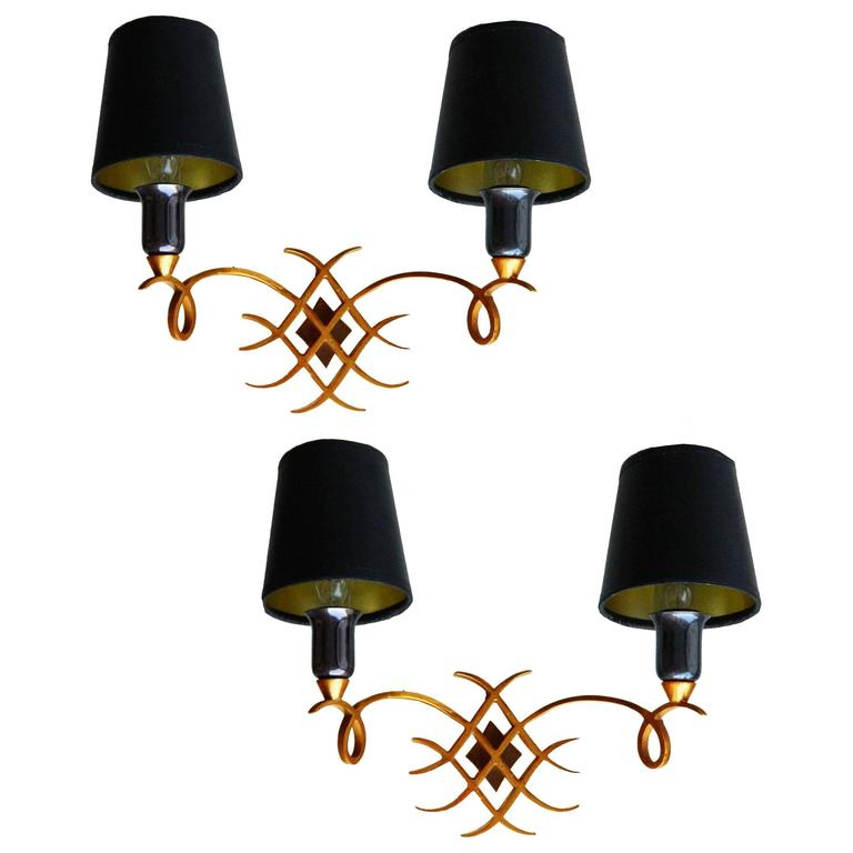 Pair of 1940s French Sconces In the style of Jules Leleu