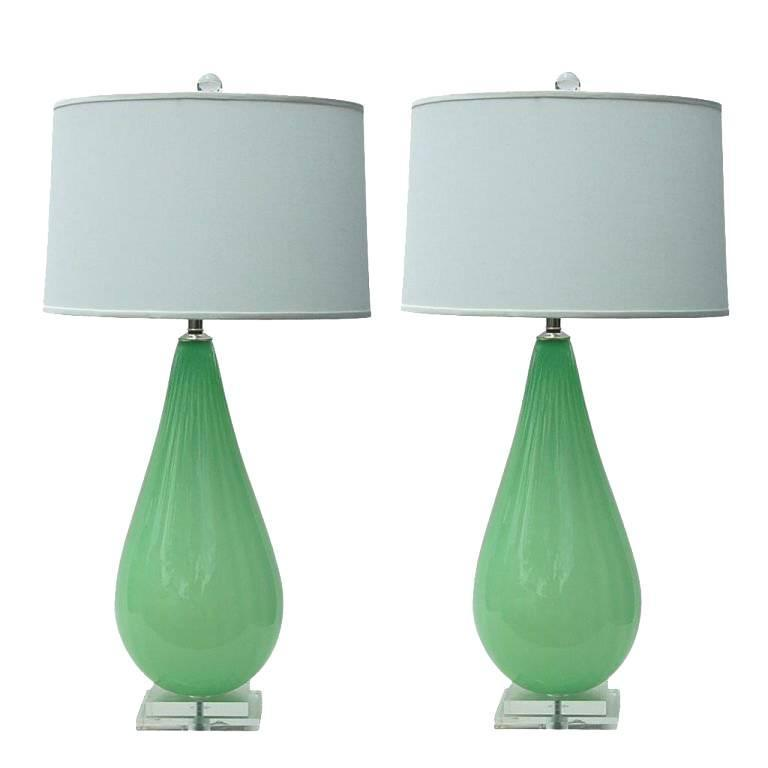 Green Handblown Glass Table Lamps by Joe Cariati 1 - Green Handblown Glass Table Lamps By Joe Cariati For Sale At 1stdibs