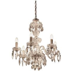 1940s Six-Light Crystal Chandelier with Cut and Etched Crystals
