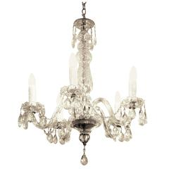 1900s Five-Light Crystal Chandelier