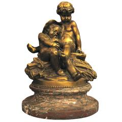 Rare 1850 Signed Pigalle Bronze Statue with Marble Base of Two Sitting Putti