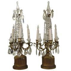 Early 1900s Pair of Electric Candelabras with Swag and Hanging Crystals