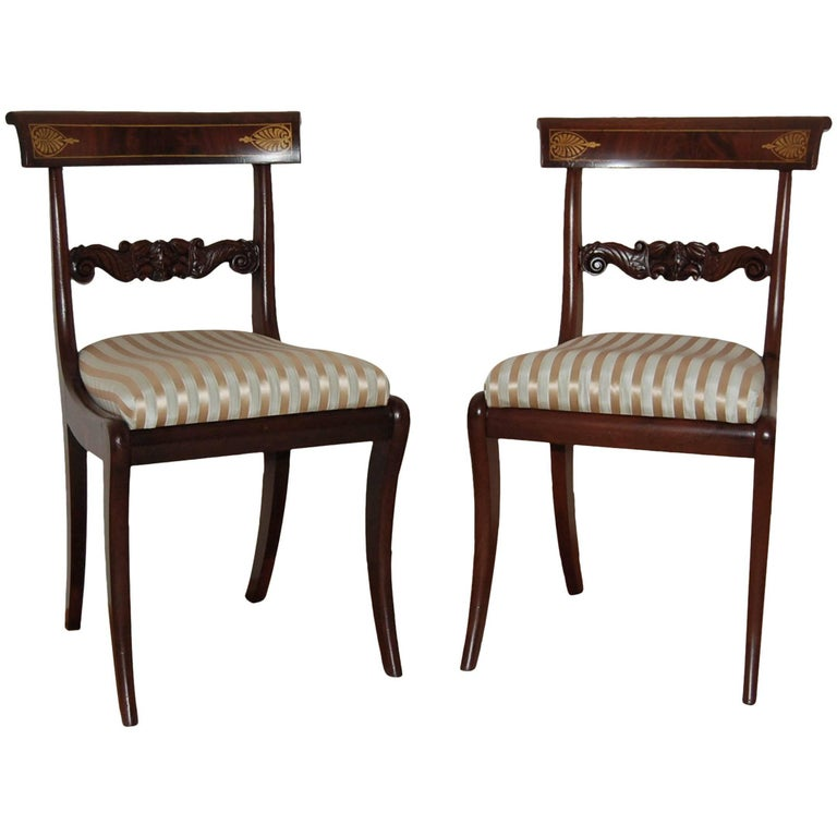 Pair of Philadelphia Carved Mahogany Side Chairs with Gold Stenciled Backs