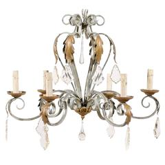 Vintage French Six-Light Painted Iron and Crystal Chandelier