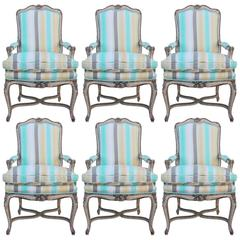 Set of Six French Louis XV Style Stretcher Base Dining Chairs in Striped Linen