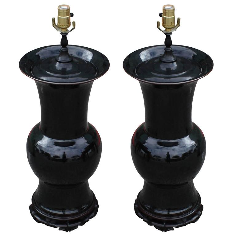 Fabulous Pair of Hollywood Regency Urn Shaped Black Chinese Lamps