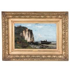 19th Century Oil on Canvas Cliffside Seascape by Etienne Vallee in Museum Frame