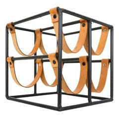 Leather Strap Wine Rack by Arthur Umanoff