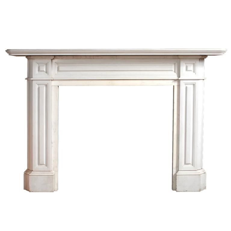 Antique Regency Style Statuary White Marble Fireplace Mantel