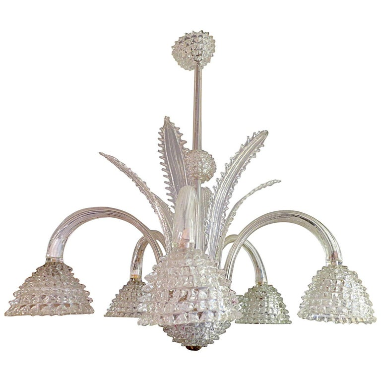 Italian Murano Glass Chandelier Attributed to Barovier e Toso For Sale