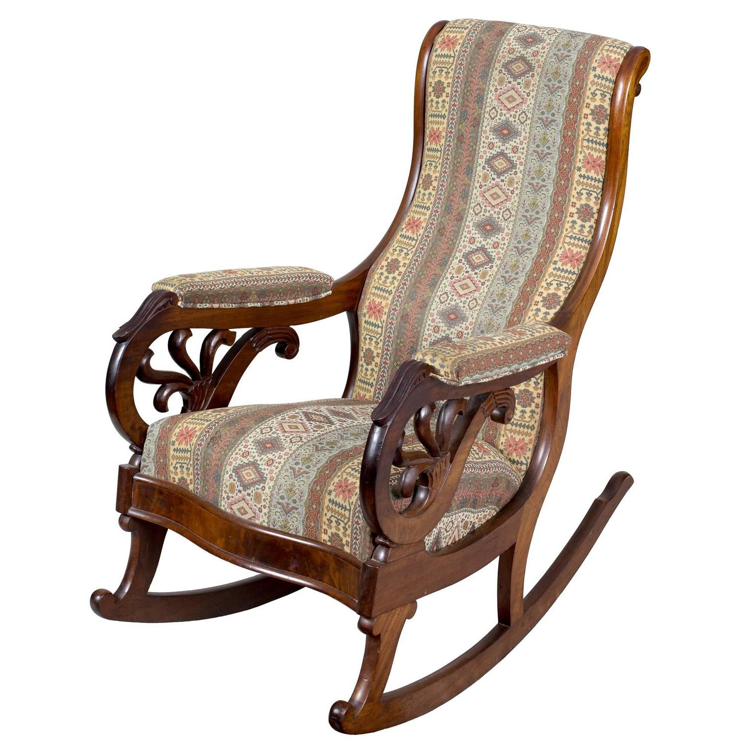 Victorian rocking chair - Classical Carved Mahogany Rocker Probably Boston Circa 1830
