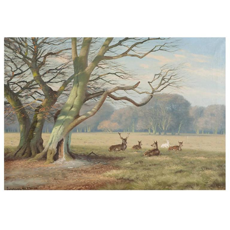 """""""Deer Park"""", North of Copenhagen, Oil on Canvas, Signed K. Drews, 1938 For Sale"""