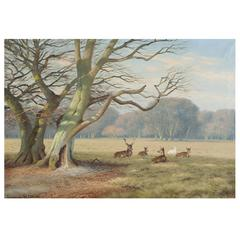 """Deer Park"", North of Copenhagen, Oil on Canvas, Signed K. Drews, 1938"